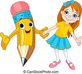 Mädchen und Bleistift.