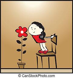 Mädchen und eine Blume