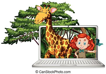 Mädchen und Giraffe auf Computerbildschirm.