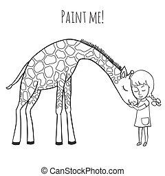 Mädchen und Giraffe