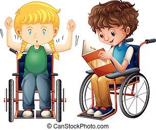 Mädchen und Junge im Rollstuhl.