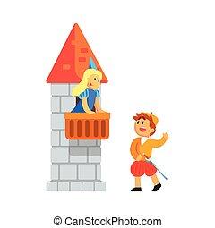 Mädchen und Jungen in mittelalterlichen Outfits spielen Teile von romeo und juliette in theatralische Show in einer Balkon-Szene