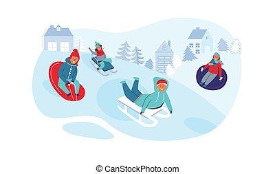 Mädchen und Jungs schlafen. Kinderfiguren haben Spaß an Winterferien. Glückliche Leute, die draußen im Schnee spielen. Vector Illustration