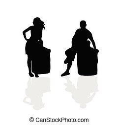 Mädchen und Mann Vektor Silhouette Illustration Teil zwei