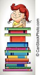 Mädchen und Stapel Bücher.
