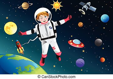 Mädchen verkleidet als Astronaut.
