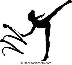 Mädchengymnastik, schwarze Silhouette.