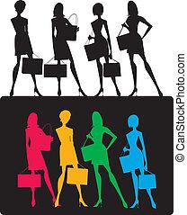 mädels, silhouetten, shoppen
