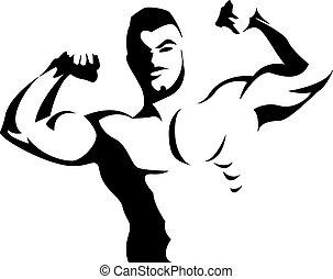 Männer, die Armmuskeln spielen.