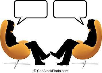 Männer-Frauen-Pärchen sitzen in Eierstühlen