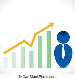Männer Icon mit Business Graph Diagramm.