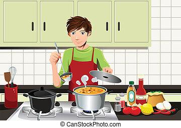 Männer kochen