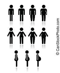 Männer und Frauen-Körper-Ikonen