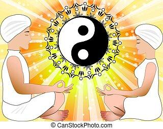 Männer und Frauen mit Yin Yang Symbol.