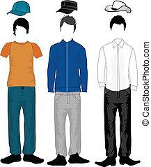 Männermode - Kleider und Frisuren.