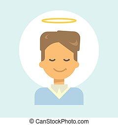 Männlich mit Engel nimbus Emotion Profil Icon, Mann Cartoon Portrait glücklich lächelndes Gesicht.