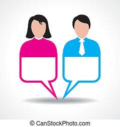 Männlich und weiblich mit Botschaftsblase.
