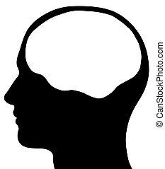 Männliche Kopfsilhouette mit Gehirnbereich