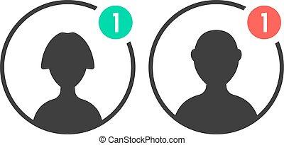 Männliche und weibliche Benutzer-Icons mit Benachrichtigung