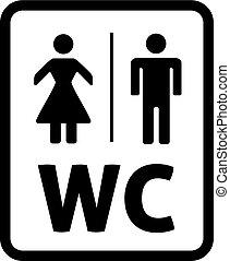 Männliche und weibliche Vektorin. Toilettenschild, WC