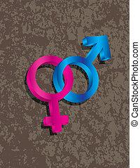 Männliche weibliche Geschlechts- 3D-Symbole, die Illustrationen verbinden