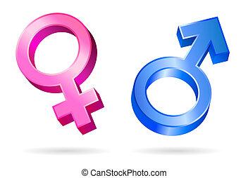 Männliche weibliche Geschlechtssymbole