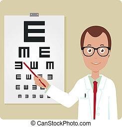 Männlicher Augenarzt.