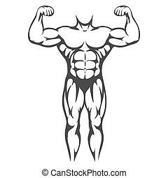 Männlicher Körpermuskel, schwarze Silhouette
