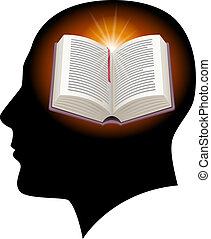 Männlicher Kopf mit offenem Buch