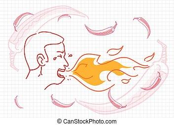 Männliches Atemfeuer, heißer Chili Pfeffer Konzept Sketch.