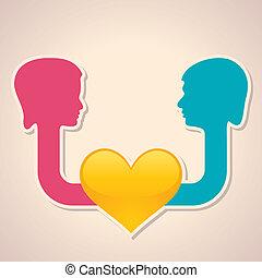 Männliches und weibliches Gesicht mit Herzsymmetrie.