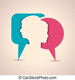 Männliches und weibliches Gesicht mit Nachricht B