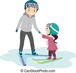 m�dchen, abbildung, lehrer, stickman, ski, lektion, kind