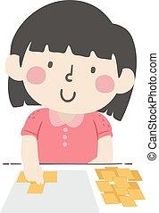 m�dchen, abbildung, messen, quadrat, kind, papier