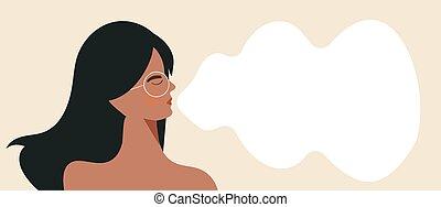 m�dchen, atem, vektor, atmen, zeichen, banner, modern, abbildung, wohlfühlen, übung, wohnung, inhalieren, üben, geschlossene, frau, gelassen, relief., augenpaar, tief, ausatmen, breathing., junger, beanspruchen, weibliche