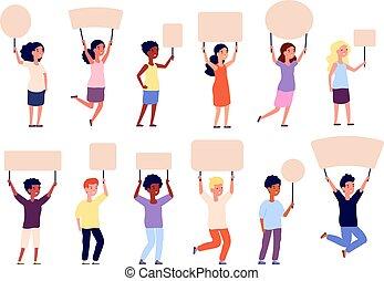 m�dchen, banner, banners., plakate, schule, äußerst, charaktere, signs., kinder, kinder, plakat, halten, junge, hände, besitz, leerer , papier, vektor, schueler