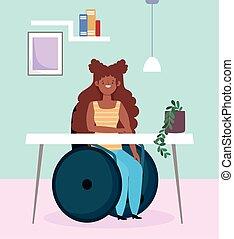 m�dchen, behinderten, arbeitende , rollstuhl, sitzen, afro, einbeziehung, amerikanische