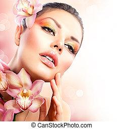 m�dchen, berühren, blumen, gesicht, spa, orchidee, sie, schöne