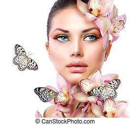 m�dchen, blumen, papillon, orchidee, schöne