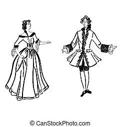 m�dchen, coloring., altes , weißes, muster, kerl, tanzen, dance., abbildung, schwarz, bunte