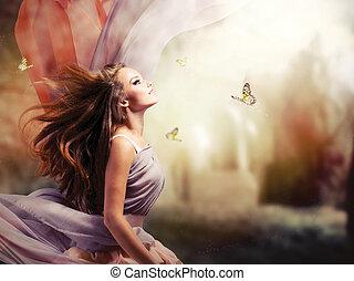 m�dchen, fantasie, magisch, fruehjahr, kleingarten, schöne , mystisch