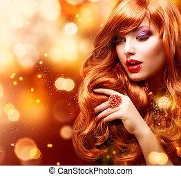 m�dchen, haar mode, portrait., wellig, goldenes, rotes