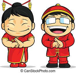 m�dchen, karikatur, chinesisches , &, junge