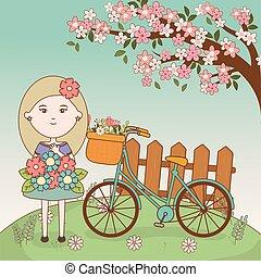 m�dchen, karikatur, fahrrad, baum, blumengebinde, blumen