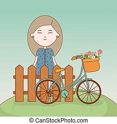 m�dchen, karikatur, fahrrad, stehende , blumen, zaun