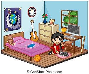 m�dchen, kinder, schalfzimmer, teil, stil, karikatur, szene