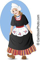 m�dchen, kostüm, national, niederländisch