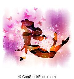 m�dchen, liegen, love-flower