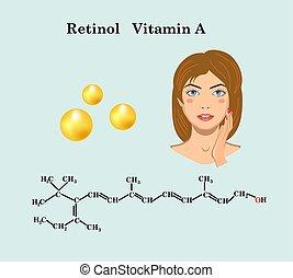 m�dchen, retinol, formel, gesicht, vitamin