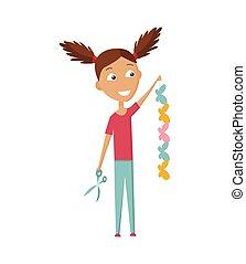 m�dchen, schneiden, scissors., farbe papier